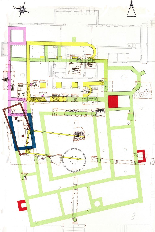 A Szt. András monostor összesített ásatási alaprajza 2001-2003 (Vajda József és Győrfy Ilona rajza)