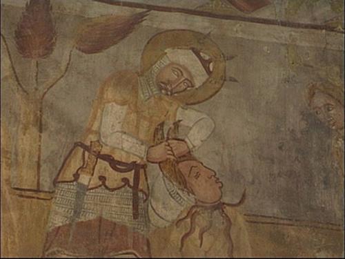 Tőrábrázolás a gelencei templom Szent László- legendáján, 14. század eleje