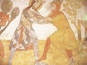 Tőrábrázolás a kakaslomnici templom Szent László-legendáján, 14. század eleje