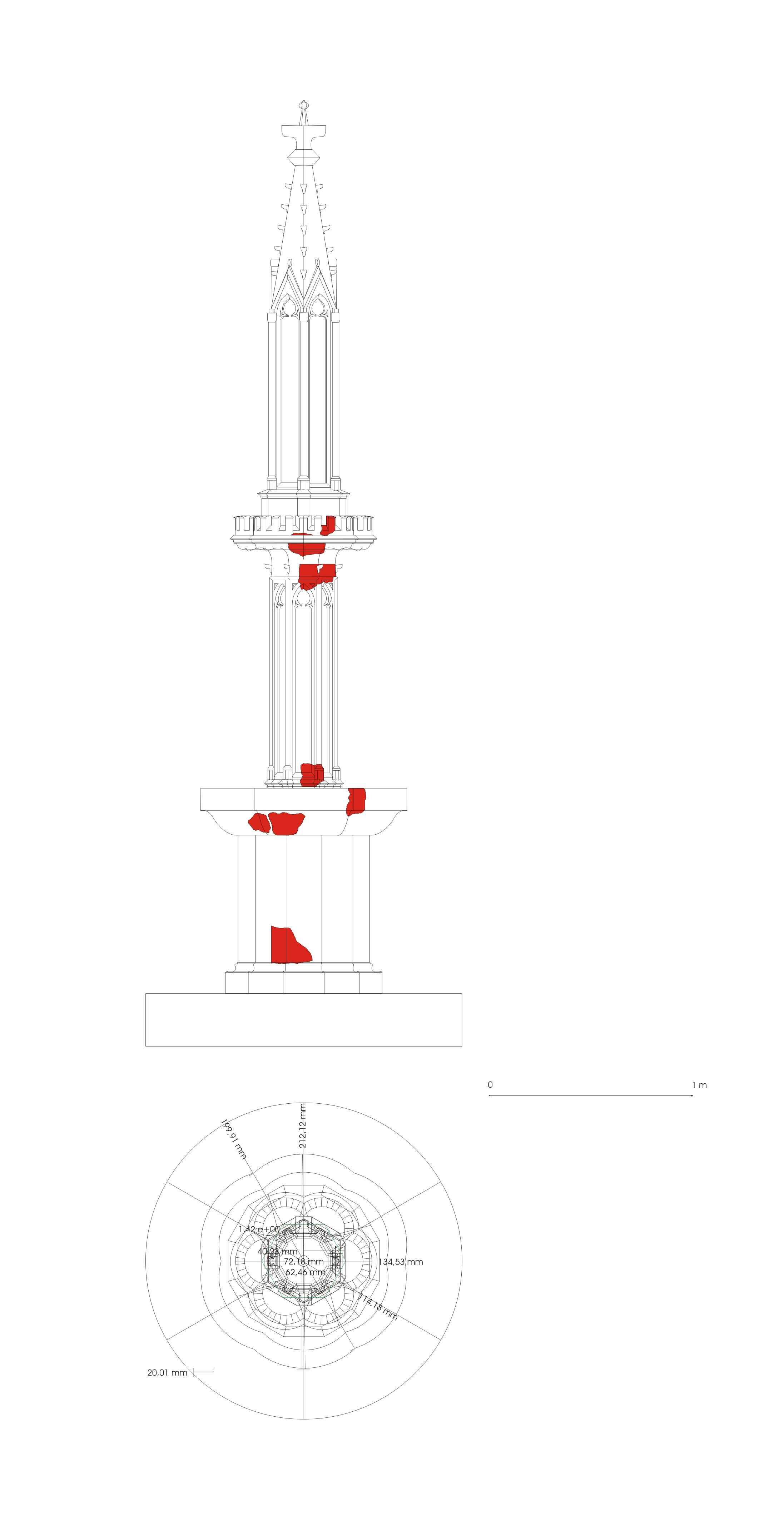 A kút rekonstrukciós rajza, az eredeti töredékek helyének jelölésével (rajz: Buzás Gergely)