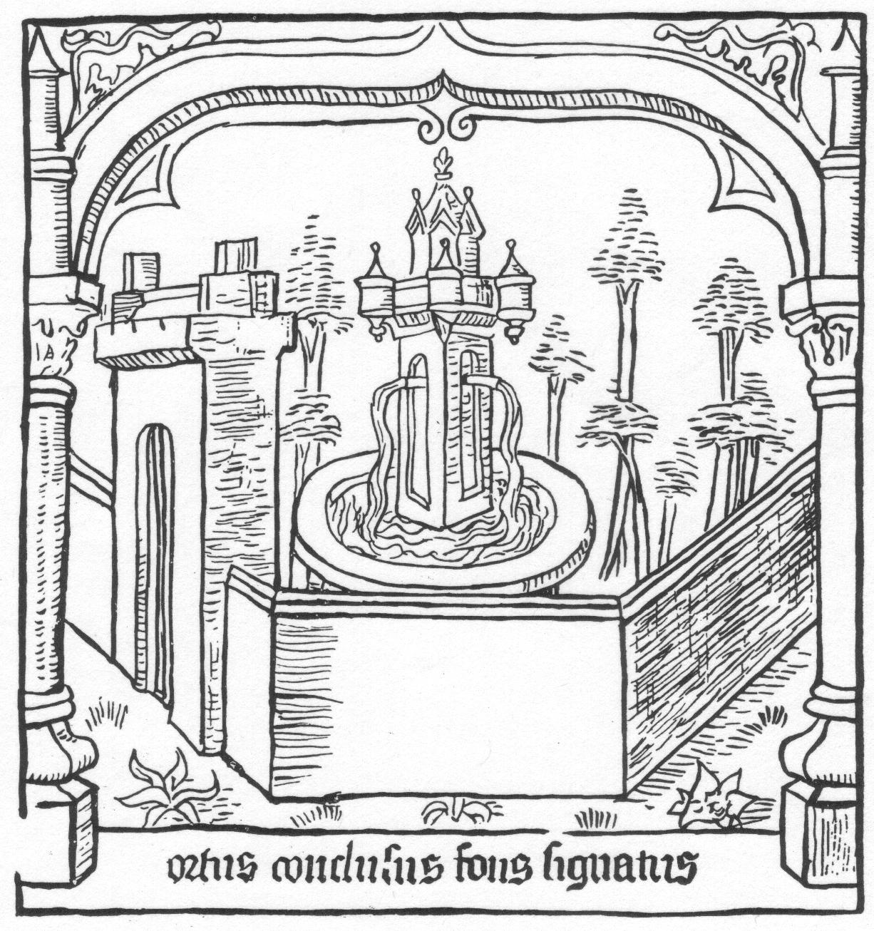 Kút egy 1435-ös Speculum Humanis Salvationis kiadás Hortus Conclusus metszetén (Catherine Childs Paterson nyomán)