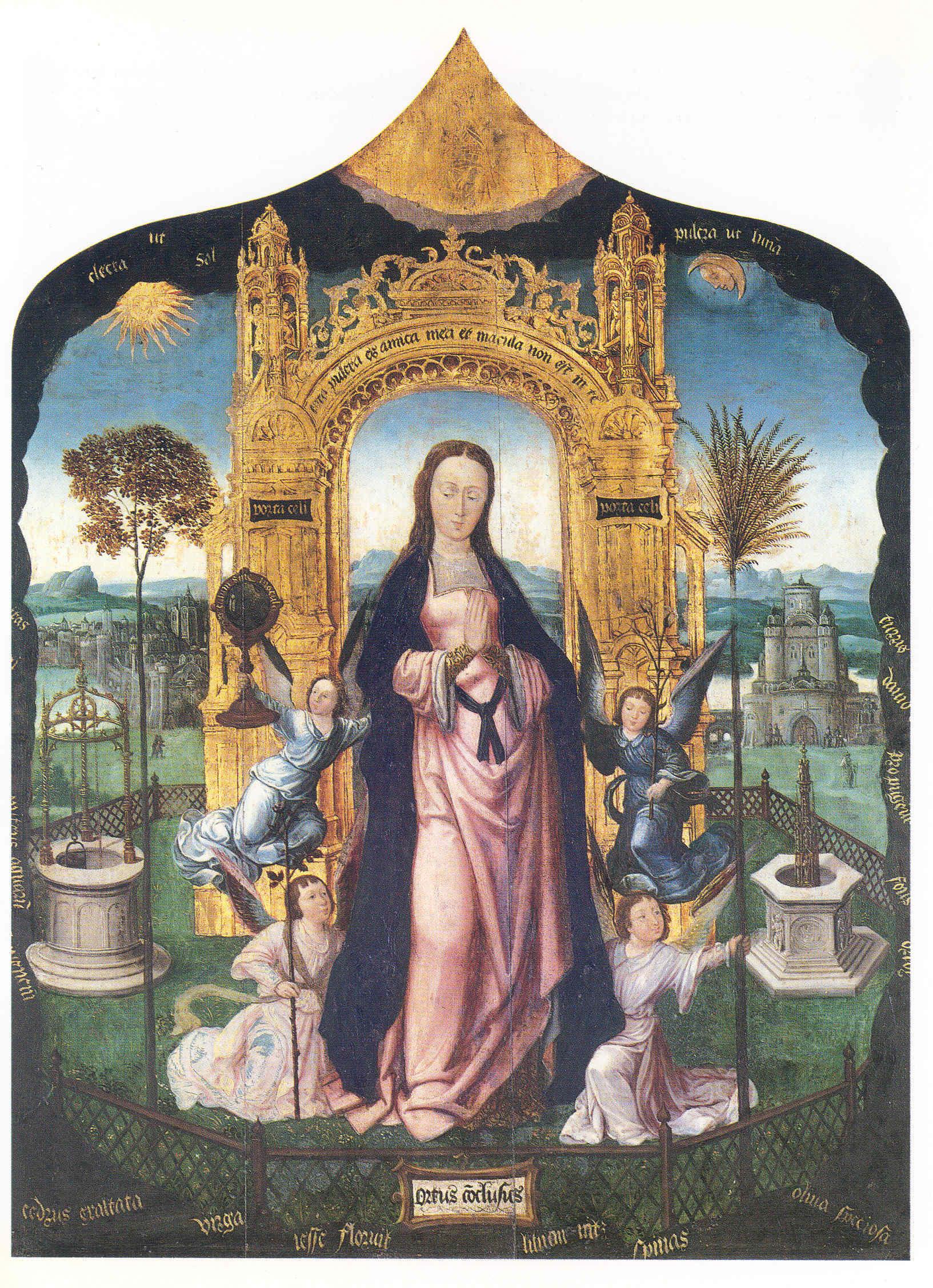 Szűz Mária kertje: hortus conclusus, jobboldalt gótikus díszkút, baloldalt csigás kút. Douai, Musée de la Chartreuse, 16. század eleje.