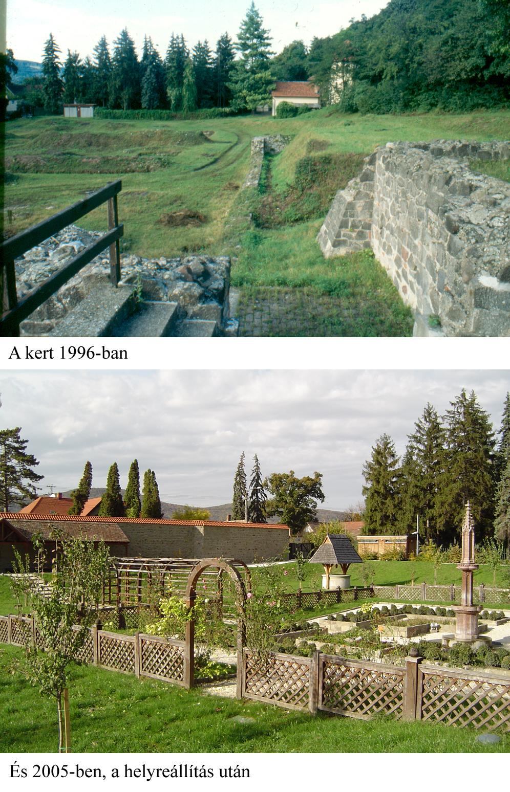 A kert 1996-ban és 2005-ben