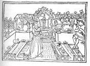 Szerenád egy kertben. Szerelmi kert gyeppadokkal és szőlőlugassal, közepén gótikus oszlopos-medencés kút van. Fametszet Crescenzi művének 1495-i velencei kiadásából.
