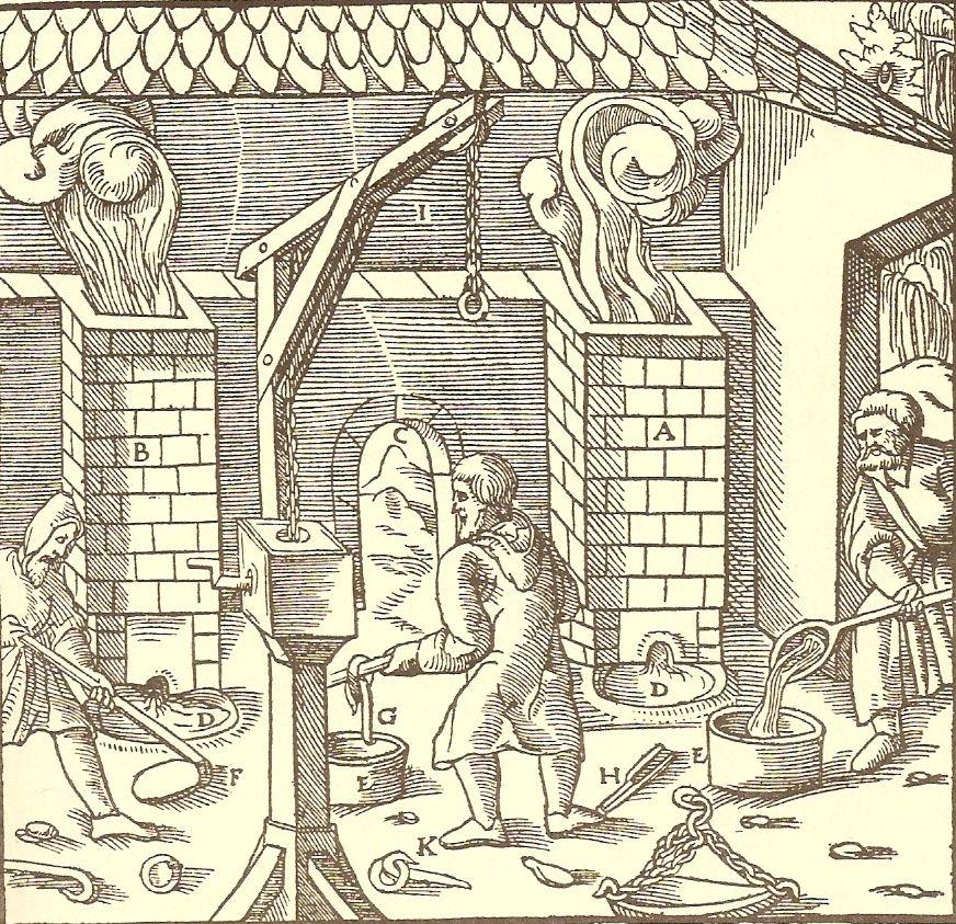 Réz-ólom ötvözőkemence Agricola művében