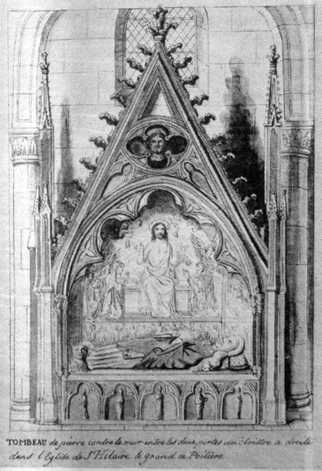 14. századi kanonoki síremlék a Poitiers-i Saint-Hilaire-le-Grand templomban