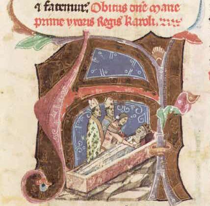 6. I. Károly második feleségének, Máriának a temetése - miniatura a Képes Krónikából
