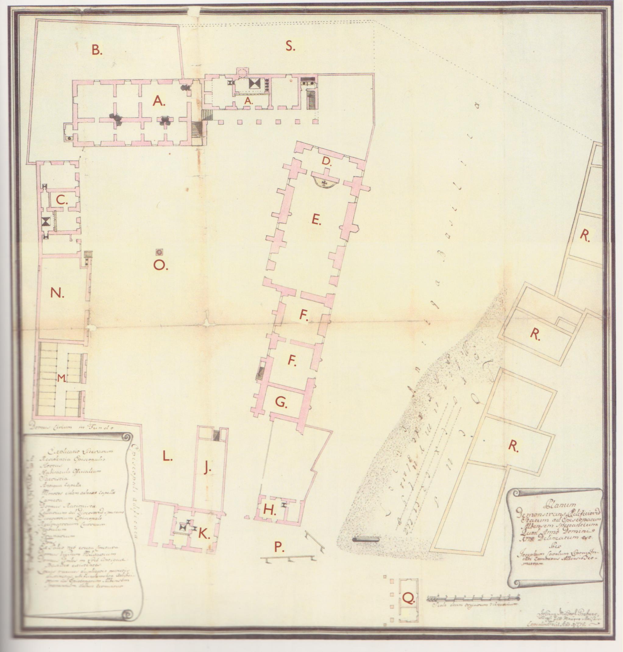 Alaprajzi felmérés a székesfehérvári bazilika maradványairól 1778-ból