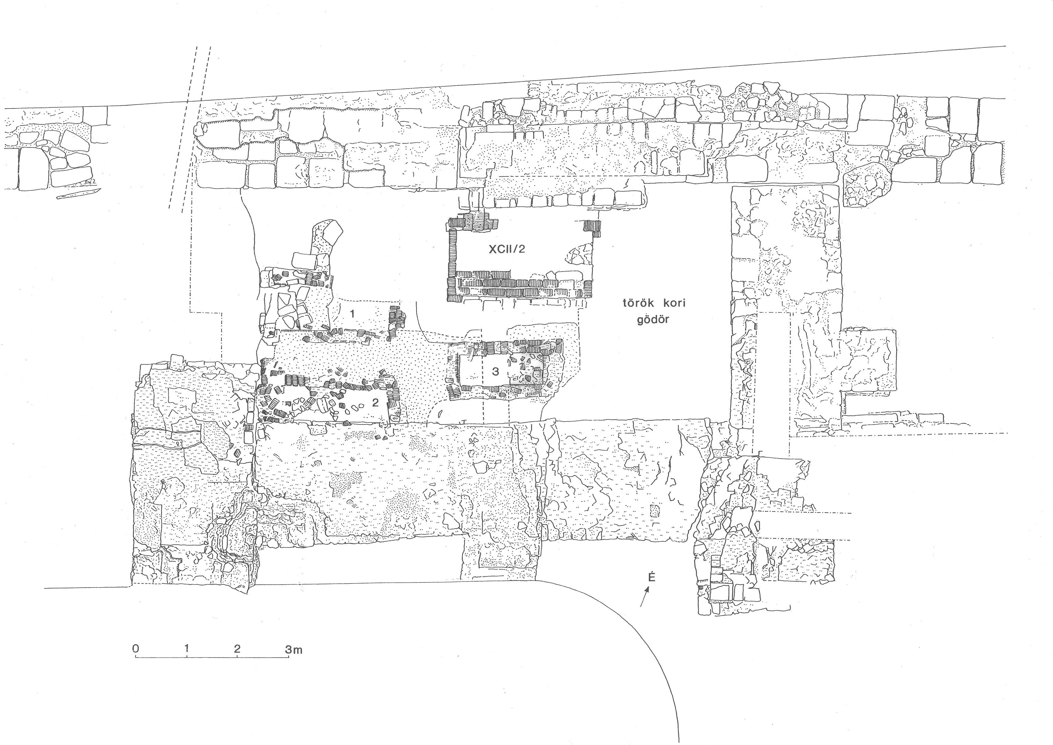 A székesfehérvári Szent Katalin kápolna ásatási alaprajza (Biczó Piroska nyomán)