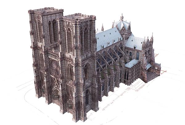 A strassbourgi székesegyház a 14. század második felében, a keresztház mellett a Szent Katalin kápolnával