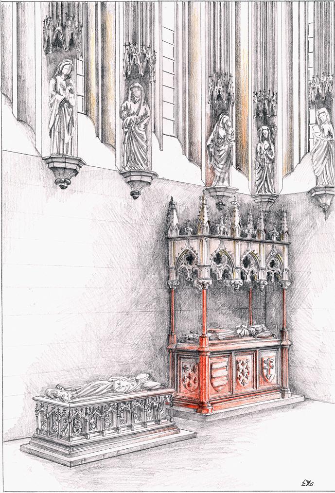 A székesfehérvári Szent Katalin kápolna síremlékeinek rekonstrukciós rajza (Lukács Zsófia rajza)