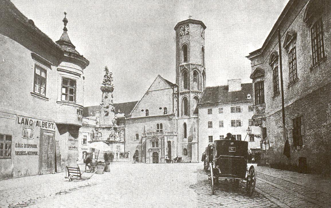 A templom nyugati nézete a 19. században