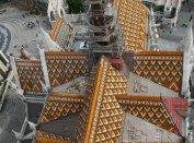 Látkép a mai Mátyás-toronyból. Ez volt a dőlés iránya