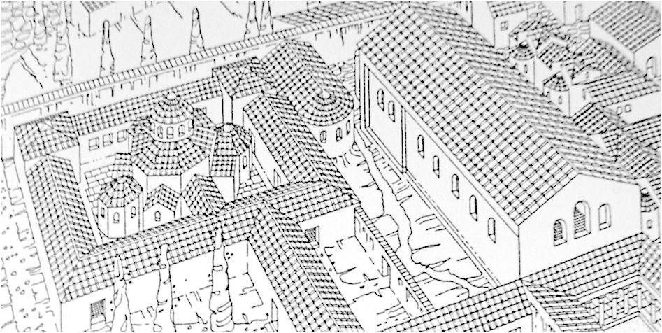 A IV. századi helytartói palota rekonstrukciós rajza